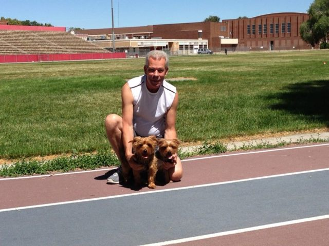 Steve & the dogs at the track